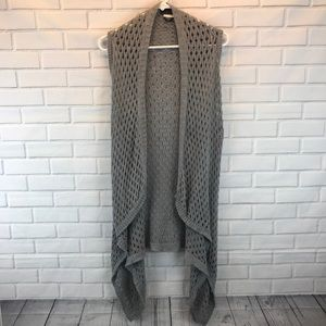 Apostrophe Gray Open Knit Sleeveless Cardigan, XS